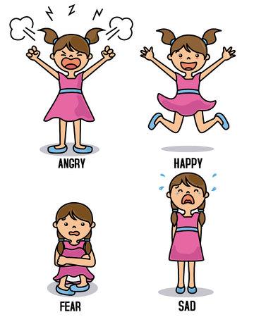 Chica con diferentes emociones. Feliz, enojado, triste y asustado Ilustración de vector