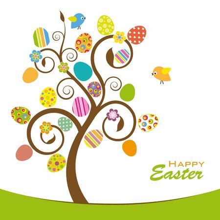 arbol de pascua: Árbol de Pascua. Árbol colorido con huevos de pascua, flores y pájaros