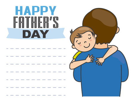 father and child: happy fathers day. His father Boy hugging
