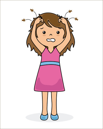 head louse: Girl with lice Illustration