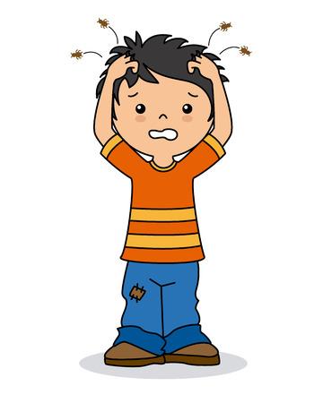 head louse: boy with lice