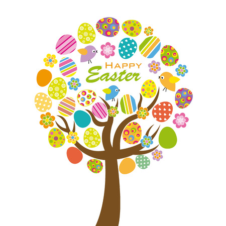 tree: Easter tree. Colorful tree with easter eggs, flowers and birds