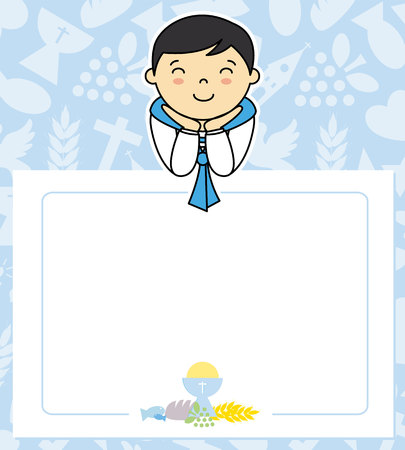 My first communion card space for text.