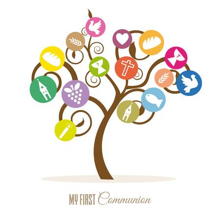 Communion invitation. Tree religious icons Stock Illustratie