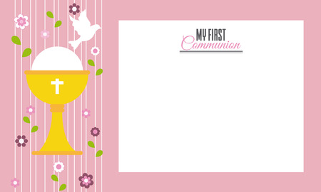 grail: My first communion. Invitation card. Space for text