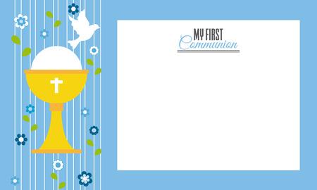 Mijn eerste communie.Invitation kaart. Ruimte voor tekst