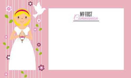 crosscountry: My first communion.Invitation card. Space for text
