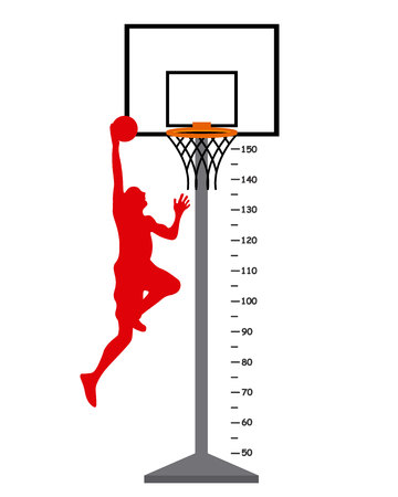 measure height: Meter basket with basketball player