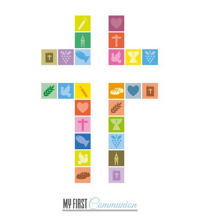 십자가를 형성하는 종교 아이콘