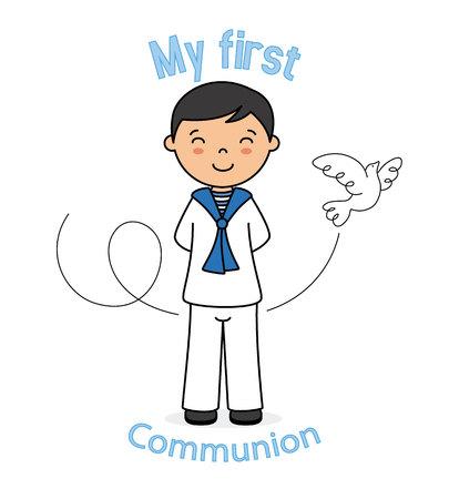 Einladung meine erste Kommunion. Mädchen mit Taube Standard-Bild - 77914093