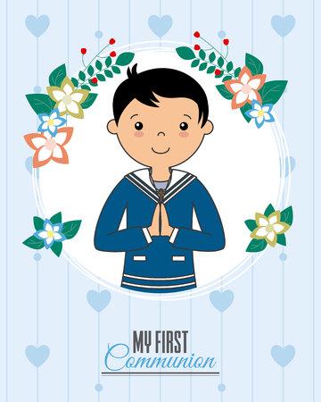 Uitnodiging mijn eerste communie. Jongen die binnen een bloemkader bidt
