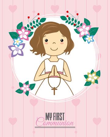 Einladung meine erste Kommunion. Mädchen beten in einem Blumenrahmen Standard-Bild - 77914094