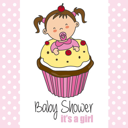 baby shower card. Baby girl inside a cupcake Illustration