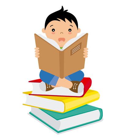 バッチの本を読んでいる少年  イラスト・ベクター素材