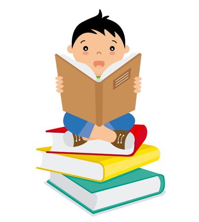 Boy reading over a batch of books Illustration