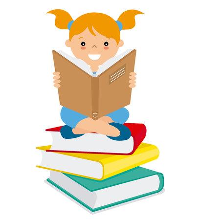 도서의 배치를 통해 독서하는 소녀 일러스트