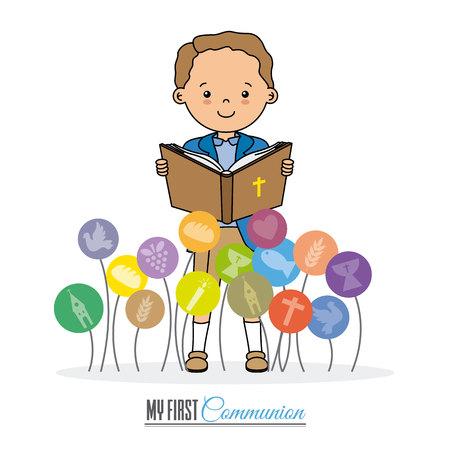 Meine erste Kommunionskarte. Junge liest die Bibel Standard-Bild - 80565307