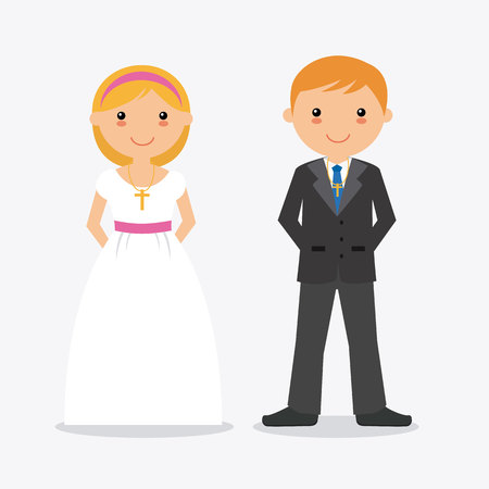 cross: Boy and girl in communion suit. White background Illustration