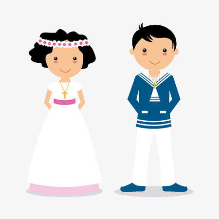 Boy and girl in communion suit. White background Illustration
