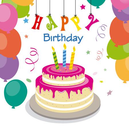 happy birthday invitation with sweet cake