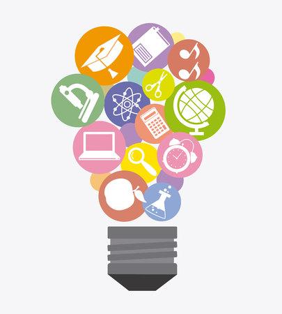 Education icons inside a light bulb