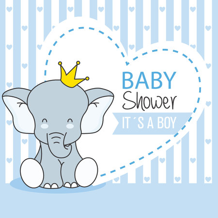 baby shower boy. Cute Elephant 일러스트