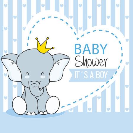 아기 샤워 소년. 귀여운 코끼리