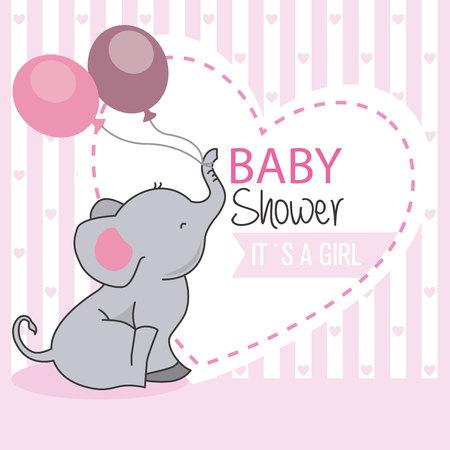 babydouche meisje. Olifant met ballonnen Stock Illustratie