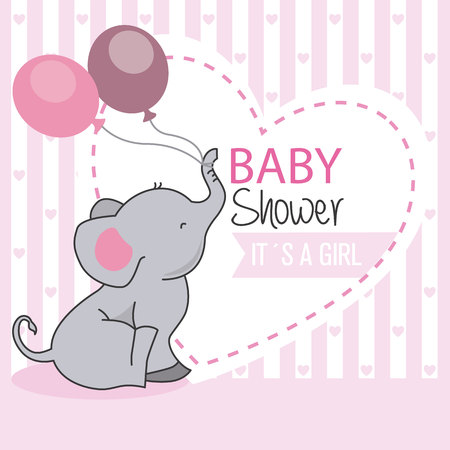 Ragazza di doccia del bambino. Elefante con palloncini Archivio Fotografico - 83262282