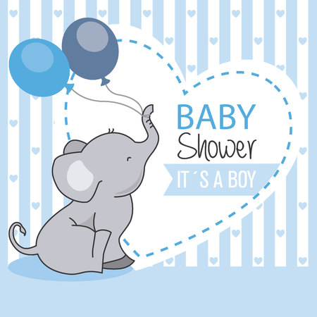 baby shower boy. Elephant with balloons
