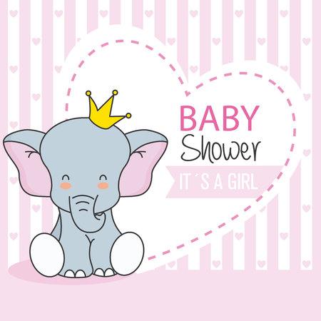 Babydouche meisje. Leuke olifant met kroon Stock Illustratie