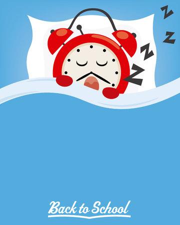 学校に戻る眠っている時計。テキストのためのスペース  イラスト・ベクター素材