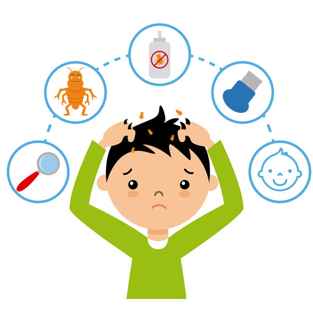Boy with lice. step by step how to remove lice  イラスト・ベクター素材