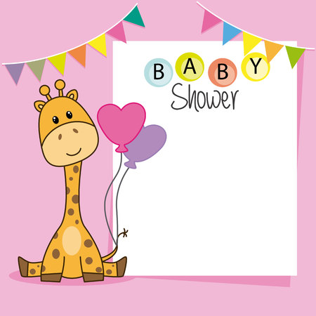 Baby shower girl. Cute giraffe. space for text or photo. vector illustration. Illustration
