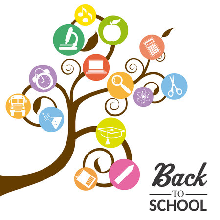 educational icons, back to school tree with learning icons