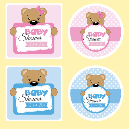 baby announcement card: Baby shower labels for girl and boy Illustration