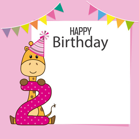 giraffe birthday card. space for text or photo