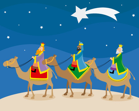 The three wise men of orient climbed on camels Stock Illustratie