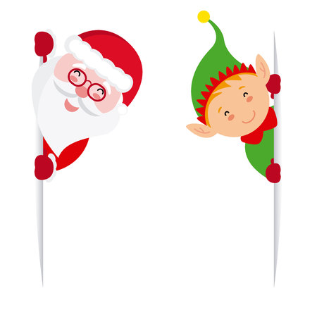 Elf and Santa Claus peeking vector illustration