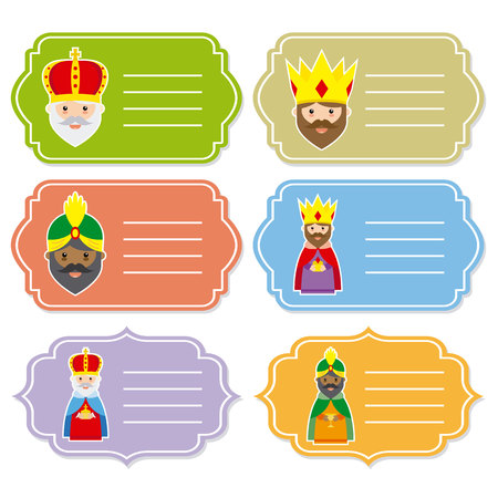 Christmas tags set. The three kings of orient Illustration