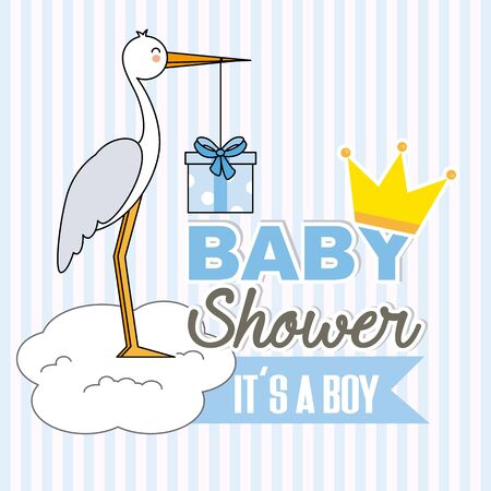 Boy baby shower. Stork with gift pack Stok Fotoğraf - 93392292