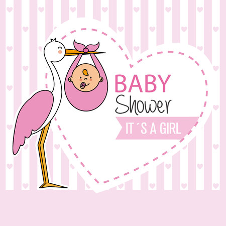 baby shower. Stork with baby girl