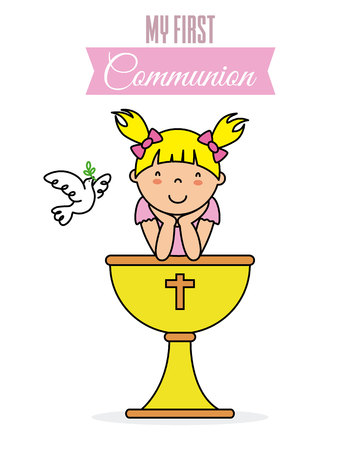 my first communion card. Little girl with a chalice