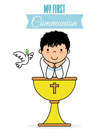 my first communion card. Boy with a chalice Vectores