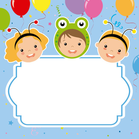 Carnival poster. Costumed children, balloons and confetti illustration. Vectores