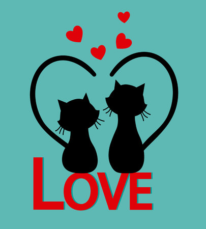 Cats in love on top of the letters love