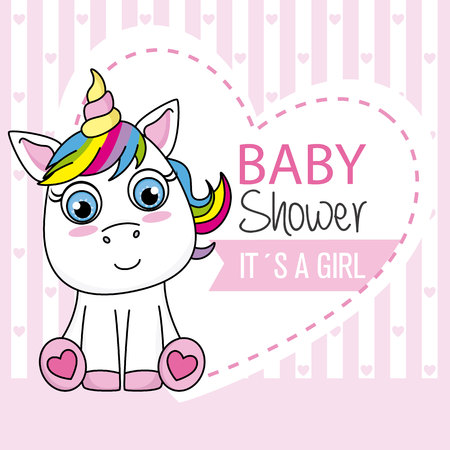 Baby shower card. It's a girl. Unicorn with pink hearts background 矢量图像