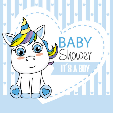 Baby shower card. It's a boy. Unicorn with blue hearts background