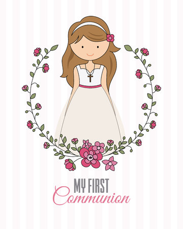 my first communion poster. beautiful girl with communion dress and flower frame 일러스트