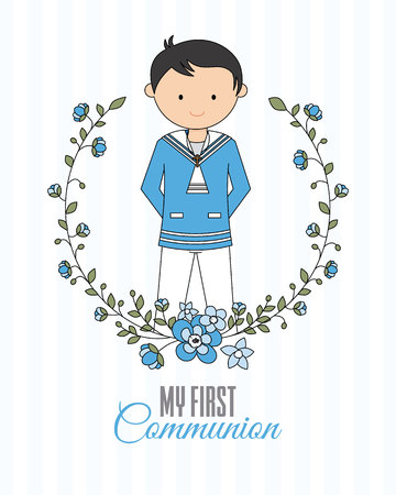 My first communion boy. Boy with communion dress and flower frame